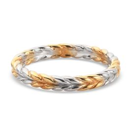Platinum and Yellow Gold Overlay Sterling Silver Leaf Band Ring