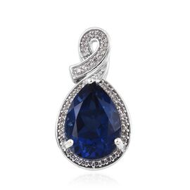 6.25 Ct Minas Gerais Twilight Quartz and Zircon Halo Pendant in Platinum Plated Silver