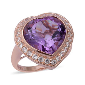 Rose De France Amethyst (Heart 15 mm), Natural White Cambodian Zircon Ring in Rose Gold Overlay Ster