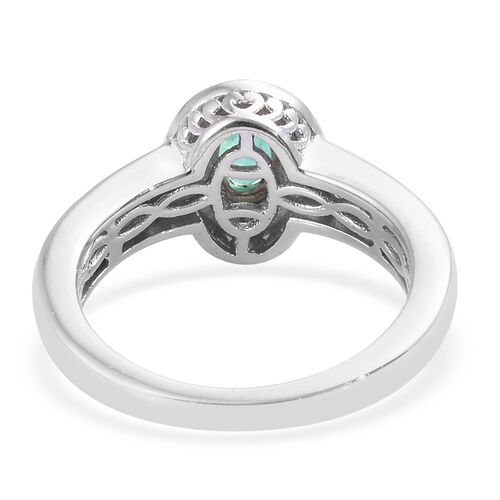 Kagem Zambian Emerald (Ovl 6x4 mm), Natural Cambodian Zircon Ring in Platinum Overlay Sterling Silver 0.750 Ct.