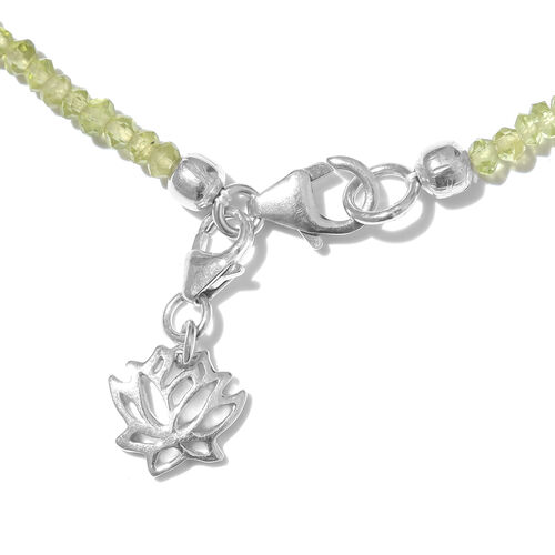 Manchurian Peridot (Rnd) Lotus Charm Bracelet (Size 7.5) in Platinum Overlay Sterling Silver 9.600 Ct.