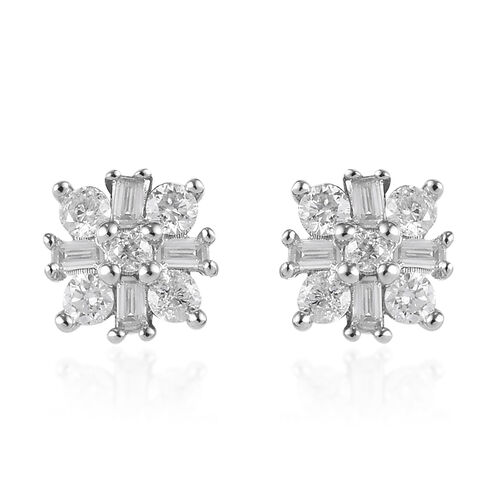 9K W Gold SGL Certified Natural Diamond (I3/G-H) Stud Earrings (with Push Back) 0.33 Ct.