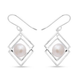 White Freshwater Pearl Hook Earrings in Sterling Silver