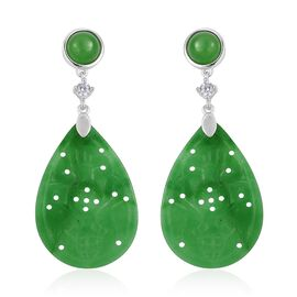 Green Jade (Pear and Rnd), Simulated White Diamond Earrings (with Push Back) in Rhodium Plated Sterling Silver 23.100 Ct.