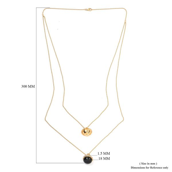 Sundays Child - Black Jade, Natural Cambodian Zircon Necklace (Size 22+30 with 4 inch Extender) in 14K Gold Overlay Sterling Silver 30.00 Ct, Silver wt. 16 Gms