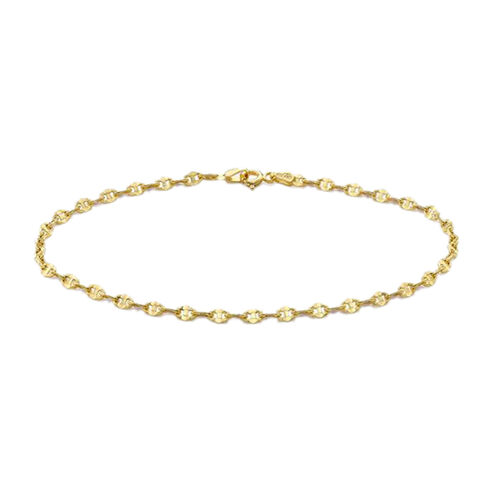 9K Yellow Gold Mariner Anklet (Size 9)