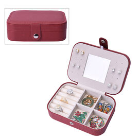 Portable and Lightweight Jewellery Organiser with Button Closure and Inside Mirror in Maroon Colour