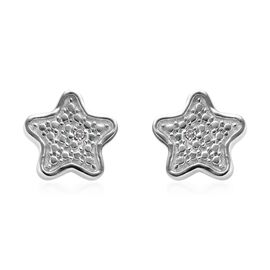 Diamond (Rnd) Star Stud Earrings (with Push Back) in Platinum Overlay Sterling Silver