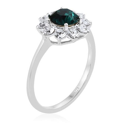 J Francis Crystal from Swarovski - Indicolite Colour Crystal (Rnd), White Crystal Flower Ring in Sterling Silver