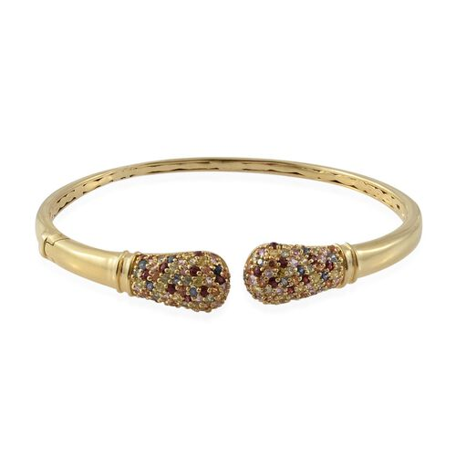 Rainbow Sapphire (Rnd) Torque Bangle (Size 7.5) in 14K Gold Overlay Sterling Silver 4.000 Ct. No Of Sapphires 136 pcs Silver wt 17.48 Gms.