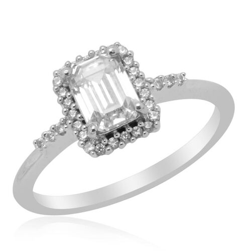 J Francis - Platinum Overlay Sterling Silver (Oct) Ring Made with SWAROVSKI ZIRCONIA  1.300 Ct.