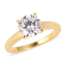 ELANZA Simulated White Diamond Star Cut (Rnd 8mm) Solitaire Ring in Yellow Gold Overlay Sterling Sil