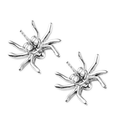Platinum Overlay Sterling Silver Spider Earrings (With Push Back), Silver wt 4.19 Gms.