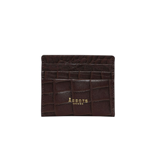 Assots London FANN Croc Embossed Leather RFID Credit Card Holder - Brown
