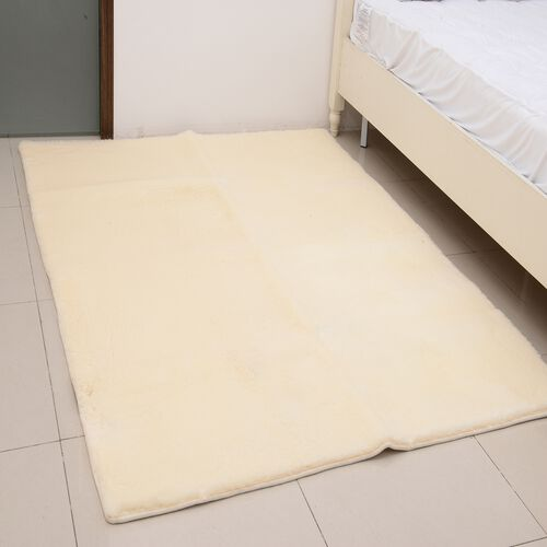 Premium Supersoft Low Pile Microfiber Padded Area Rug in Beige Colour with Anti Slip Backing (Size 160x200 cm)