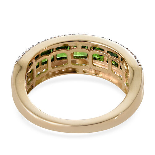 9K Yellow Gold AAA Russian Diopside (Sqr), Natural Cambodian Zircon Half Eternity Band Ring in 2.585 Ct.