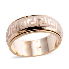 Royal Bali Collection - 9K Yellow Gold Greek key Band Ring
