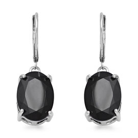 14 Carat Boi Ploi Black Spinel Solitaire Drop Earrings with Lever Back in Rhodium Plated Silver