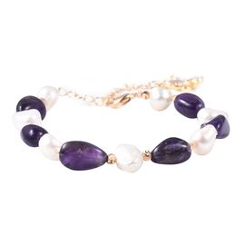 Amethyst,Freshwater White Pearl Bracelet (Size 6.5 with 1.5 inch Extender) in Gold Plating