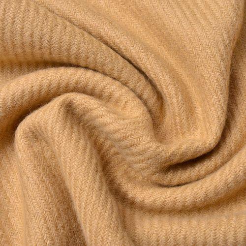 Italian Designer Khaki Colour Stripes Pattern Scarf with Tassels (Size 180x65 Cm)
