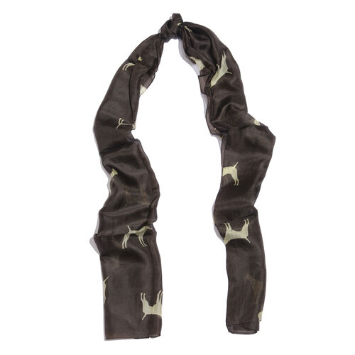 100% Mulberry Silk Dark Chocolate and Cream Colour Hand Screen Dogs Printed Scarf (Size 180X50 Cm)
