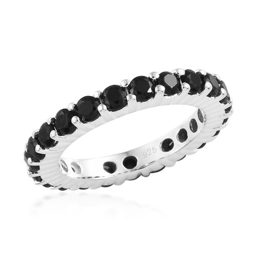 Boi Ploi Black Spinel (Rnd) Full Eternity Band Ring in Sterling Silver 2.500  Ct. Number of Gemstone