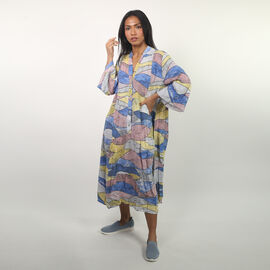 NOVA of London - Abstract Midi Smock Dress in Pink and Multi (Size up to 18)
