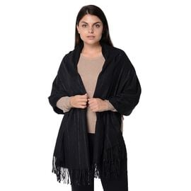 Wool Blend Stripe Pattern Winter Scarf with Tassels (Size 70x180 Cm) - Black