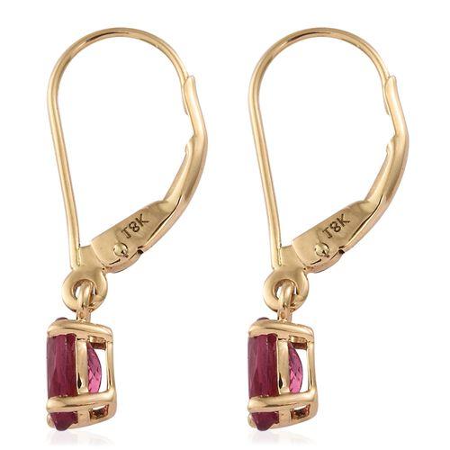 ILIANA 18K Yellow Gold 1 Carat AAA Rubelite Oval Solitaire Lever Back Earrings.