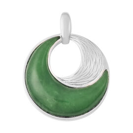 Green Jade Pendant in Rhodium Overlay Sterling Silver 14.75 Ct.