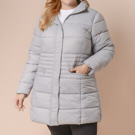 Winter Puffer Jacket with Middle Zip in Light Grey