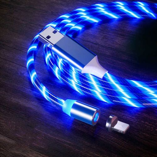 Set of 2 - USB Cable with 3 Magnetic Tips (Lightning, Type-C and Micro USB) and Flowing LED Lights - Blue
