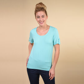 TAMSY Viscose Stylish Tee for Womens Top (Size 10) - Mint