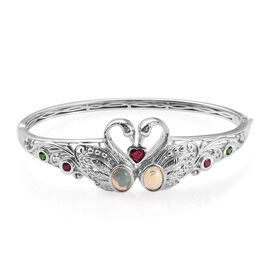 GP Ethiopian Welo Opal and Multi Gemstone Swan Love Bangle in Sterling Silver 24.89 Grams 7.5 Inch