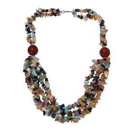 Russian Amazonite, Ruby Zoisite and Multi Gemstones Necklace (Size 20) in Platinum Overlay Sterling