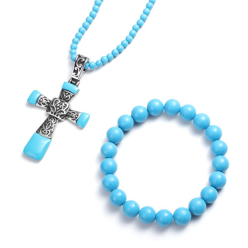 Set of 3 - Blue Howlite Stretchable Bracelet (Size 7), Cross Pendant and Necklace (Size 20 with 3.5