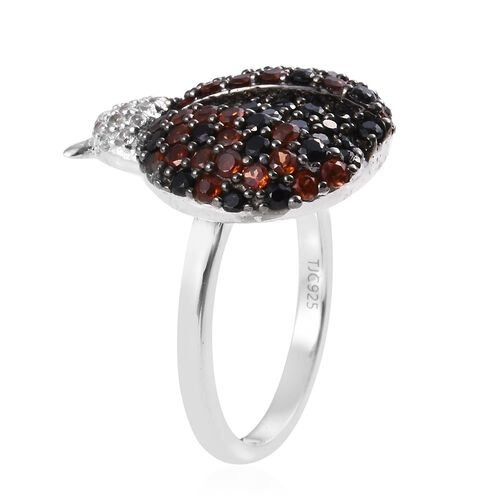 GP Boi Ploi Black Spinel (Rnd), Mozambique Garnet, Blue Sapphire and Natural Cambodian Zircon Ladybug Ring in Platinum Overlay Sterling Silver 2.000 Ct.