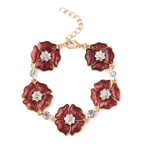 White Austrian Crystal Enamelled Poppy Floral Bracelet in Gold Tone 7.5 with 1.5 Inch Extender