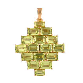 Hebei Peridot Cluster Pendant in 14K Gold Overlay Sterling Silver 10.00 Ct.