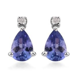 9K White Gold 1 Ct AA Tanzanite Earrings (with Push Back) with Diamond