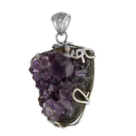One Time Mega Deal-Amethyst Geode Pendant in Sterling Silver 75.150 Ct.