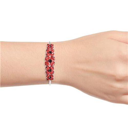 TJC Poppy Design - Black and Red Austrian Crystal Enamelled Poppy Cuff Bangle (Size 6.5) in Silver Tone