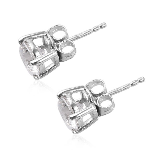J Francis - Platinum Overlay Sterling Silver Stud Earrings (with Push Back) Made with SWAROVSKI ZIRCONIA