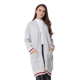 Elegant Stripe Pattern Coat with Long Sleeves (Size 90x60x40 Cm) Grey, White and Burgundy Stripe