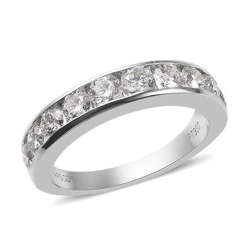 Signature Collection 950 Platinum IGI Certified Diamond (SI/G-H) Half Eternity Band Ring 1.50 Ct, Platinum wt. 5.50 Gms