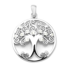 ELANZA Simulated Diamond Tree-of-Life Pendant in Rhodium Overlay Sterling Silver