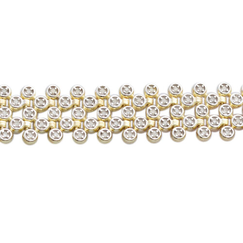 Limited Edition- Premium Collection- Diamond (Rnd) Bracelet (Size 7.5) in 14K Gold Overlay Sterling Silver 1.000 Ct, Silver wt 18.18 Gms, Number of Diamonds 195.