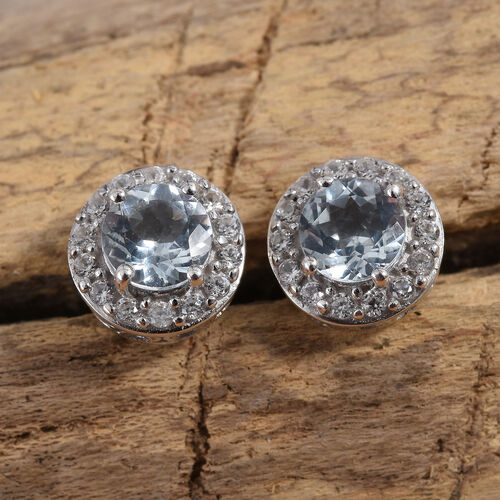 Espirito Santo Aquamarine (Rnd), Natural Cambodian Zircon Stud Earrings (with Push Back) in Platinum Overlay Sterling Silver 1.860 Ct.