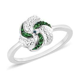 Green Diamond Swirl Design Ring in Sterling Silver