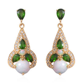 Ethiopian Welo Opal (Rnd 2.14 Ct), Russian Diopside and White Topaz Earrings (with Push Back) in Yel